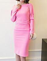 Damer Sexet Vintage Simpel I-byen-tøj Afslappet/Hverdag Arbejde Bodycon Kjole Ensfarvet,Bateau-hals Knælang Langærmet AndetAlle årstider