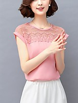 Women's Casual/Daily Simple Spring Summer Blouse,Solid Round Neck Short Sleeve Polyester Medium