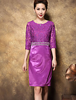 BRASSIA Women's Going out Cute Bodycon DressEmbroidered Round Neck Above Knee  Sleeve Polyester Spring Summer Mid Rise Micro-elastic Medium