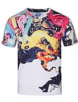Tee-shirt Homme,Imprimé Décontracté / Quotidien Soirée / Cocktail Soirée Bohème Chic de Rue Punk & Gothique Printemps Eté Manches Courtes
