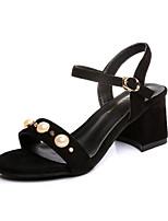 Women's Sandals Summer T-Strap Fleece Outdoor Dress Casual Chunky Heel Block Heel Buckle Tassel Black Yellow Khaki Walking