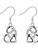 Boucles d'oreille goutte Cristal Plaqué argent Mode Forme de Coeur Argent Bijoux Mariage Soirée Halloween Quotidien Décontracté 1 paire