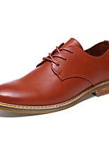 Masculino-Oxfords-Conforto Sapatos formais-Rasteiro-Preto Marron Khaki-Couro Microfibra-Escritório & Trabalho Casual Festas & Noite