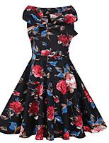 Women's Casual/Daily Vintage Sheath Dress,Floral Boat Neck Midi Sleeveless Cotton Polyester Summer Fall Mid Rise Micro-elastic Medium