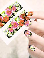 10pcs/set Sweet Style Nail Art Water Transfer Decals Romantic Rose Colorful Flower Design Nail Art Beauty Sticker STZ-099