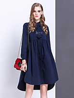 Women's Going out Casual/Daily Cute A Line Dress,Solid Shirt Collar Above Knee Long Sleeve Cotton Spring Summer Mid Rise Inelastic Medium