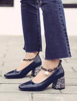 Синий Вино-Для женщин-Повседневный-Полиуретан-На толстом каблуке-Удобная обувь-Обувь на каблуках