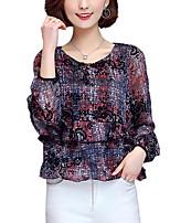 Для женщин На каждый день Все сезоны Блуза Круглый вырез,Простое С принтом Длинный рукав,Искусственный шёлк Полиэстер,Тонкая