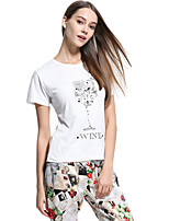Women's Casual/Daily Simple T-shirt,Solid Round Neck Short Sleeve Polyester