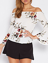 Women's Casual/Daily Sexy Cute Spring Summer Blouse,Print Boat Neck Long Sleeve Polyester Medium