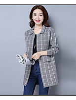 Women's Going out Casual/Daily Regular Cardigan,Solid V Neck Long Sleeve Wool Spring Fall Medium Micro-elastic
