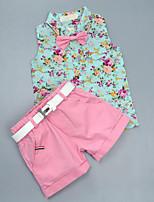 Мальчики Наборы На каждый день Хлопок Искусственный шёлк Цветочный принт Лето Без рукавов Набор одежды