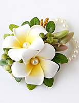 Wedding Flowers Free-form Lilies Wrist Corsages Wedding Party/ Evening Champagne Satin Bead