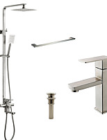Contemporary Tub And Shower Rain Shower Widespread Handshower Included with  Ceramic Valve Nickel Brushed Shower Faucet