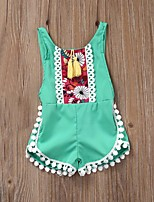 Baby Casual/Daily Beach Party Geometric Embroidered One-PiecesCotton Summer Sleeveless Girl Jumpsuit Kids Rompers Clothing