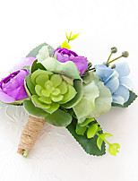 Wedding Flowers Free-form Roses Peonies Boutonnieres Wedding Party/ Evening Multi Color Satin