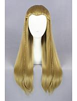 Médio reto o senhor dos anéis-legolas luz marrom 26inch cosplay wigcs196a