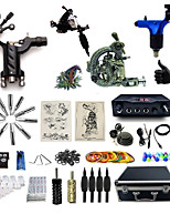 Complete Tattoo Kit 4 Machines G4A2R5Z12R6 Liner & Shader Dual LED Digital Power Supply