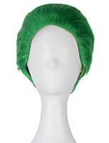 Men's Short Straight Green Color Hair Joker Cosplay Costume Wig for Batman Suicide Squad Halloween