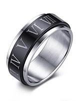 Кольцо Титановая сталь Круглый Euramerican Черный Бижутерия Повседневные 1шт