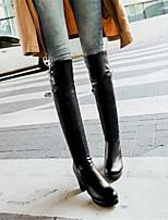 Damen-Stiefel-Lässig-PU-Blockabsatz-Komfort-