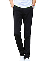Men's Slim Chinos PantsCasual/Daily Simple Solid Mid Rise Button Cotton Polyester Micro-elastic All Seasons HY-1708