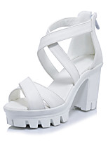 Women's Sandals Spring Summer Fall Gladiator PU Office & Career Dress Party & Evening Chunky Heel Block Heel Zipper White Black