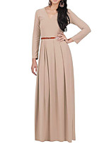 HOT!M-3XL Plus Size 8 Colors High QualityWomen's Going out Casual/Daily Sexy Vintage Simple Sheath DressSolid V Neck Maxi Long Sleeve Polyester Summer