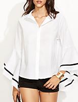 Feminino Camisa Social Para Noite Trabalho Sensual SofisticadoEstampa Colorida Algodão Raiom Colarinho de Camisa Manga Longa