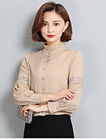 Women's Casual/Daily Simple Blouse,Solid Turtleneck Long Sleeve Polyester Thin
