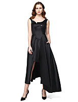 TS Couture Formal Evening Black Tie Gala Dress - Celebrity Style High Low A-line Jewel Asymmetrical Satin with Pockets Sequins