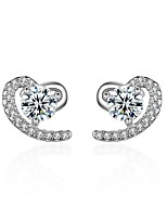 925 Rhinestone Heart Stud Earrings Jewelry Heart Party Daily Casual Sterling Silver Zircon 1 pair Silver