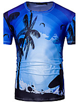 Dudian  Men's Going out Formal Simple Active Summer T-shirtGeometric Round Neck Short Sleeve Cotton Medium
