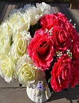 1 Ramo Plástico Rosas Flor de Mesa Flores artificiais 30*30*35