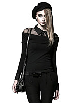 Women's Casual/Daily Sexy Simple Punk & Gothic Spring Fall T-shirt,Solid Shirt Collar Long Sleeve Silk Thin