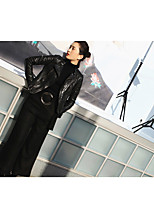 Women's Casual/Daily Punk & Gothic Spring Leather Jacket,Solid Shirt Collar Long Sleeve Regular Cotton