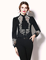 Egeer Women's Work Party Sexy Street chic Sophisticated Spring Summer BlouseSolid Color Block Embroidered Stand Long Sleeve Polyester