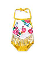 малыш 1 предмет На выход На каждый день Пляж Хлопок Цветочный принт С принтом Пэчворк Лето Без рукавов