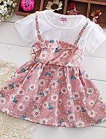 Девичий Платье На выход На каждый день Для школы Акрил Полиэстер Цветочный принт Лето Без рукавов