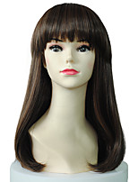 Hot Sale Capless Long Straight Synthetic Wig With Neat Bangs For Women