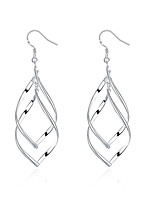 Concise Silver Plated Hollow Leaf Style Dangle Earrings for Party Women Jewelry Accessiories