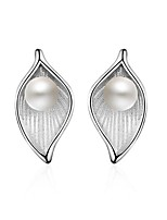 925 Imitation Pearl Leaf Earrings Set Jewelry Imitation Pearl Party Daily Casual Pearl Sterling Silver 1 pair Silver