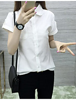 Women's Casual/Daily Simple Shirt,Solid Shirt Collar Short Sleeve Cotton
