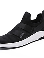 Men's Sneakers Spring Summer Comfort Fabric Outdoor Athletic Casual Flat Heel Magic Tape Black/White Red Black