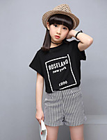 Girls' Casual/Daily Sports Solid Striped Print Sets,Cotton Summer Short Sleeve Clothing Set