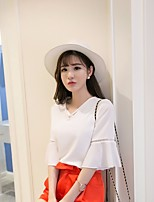 Women's Casual/Daily Simple Blouse,Solid V Neck ½ Length Sleeve Others