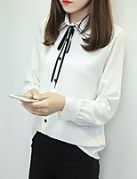 Women's Casual/Daily Simple Shirt,Solid Shirt Collar Long Sleeve Nylon