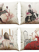 Set of 4 Modern Fashion Pattern  Linen Pillowcase Sofa Home Decor Cushion Cover