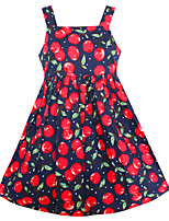 Girls Fashion Flower Dress Cherry Fruit Cotton Dresses Summer Princess Holiday Party Children Clothes