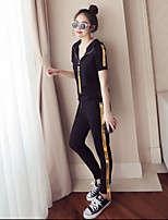 Women's Going out Party/Cocktail Sexy Cute Chinoiserie T-shirt Pant Suits,Solid Round Neck Short Sleeve